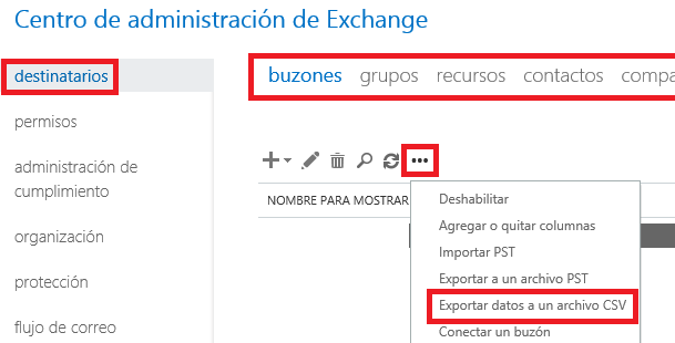 Exchange: Exportar lista global de direcciones