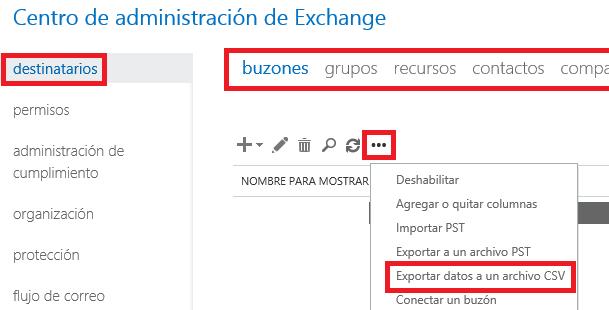 Exchange: Exportar lista global de direcciones