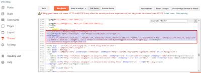 Contoh gambar ilustrasi halaman script Edit HTML di blog