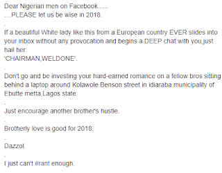 Check out this funny 2018 advice for Nigerian men on Facebook