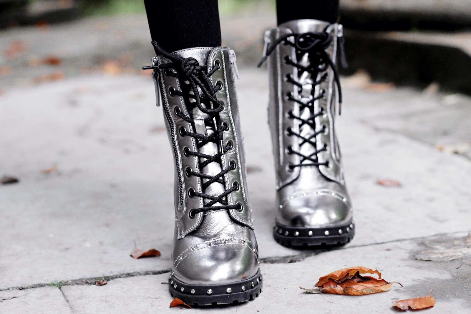 Metallic Silver Lace Up Heeled Ankle Boots