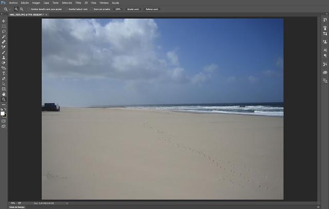 Eliminar texto de una imagen con Herramienta Pincel Corrector en Photoshop