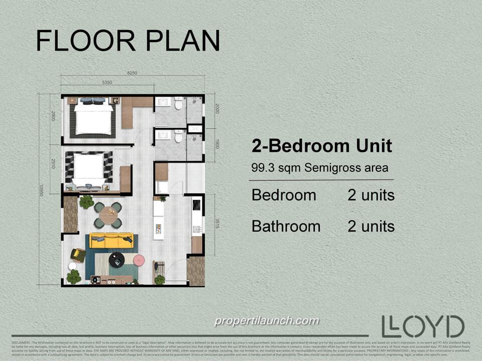 Tipe 2 BR Apartemen Lloyd