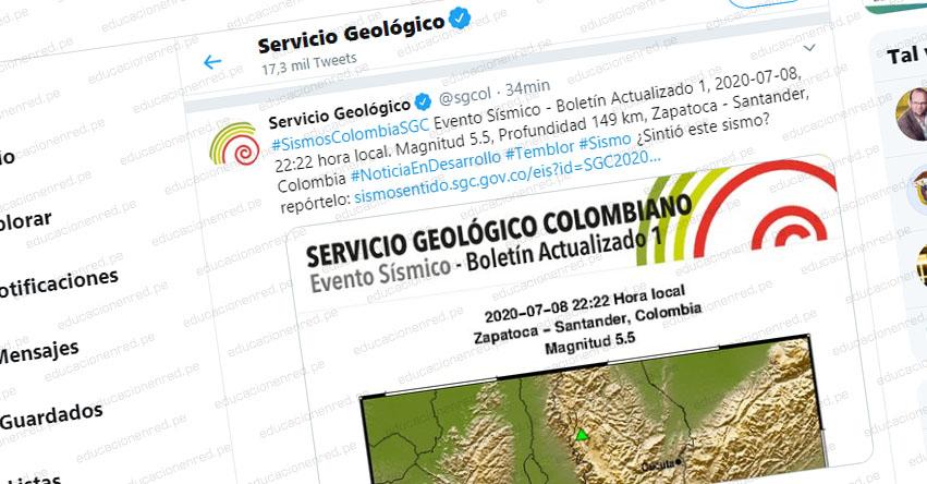 Temblor en Colombia de Magnitud 5.5 (Hoy Miércoles 8 Julio 2020) Terremoto - Sismo - Epicentro - Zapatoca - Santander - En Vivo Twitter - Facebook - www.sgc.gov.co