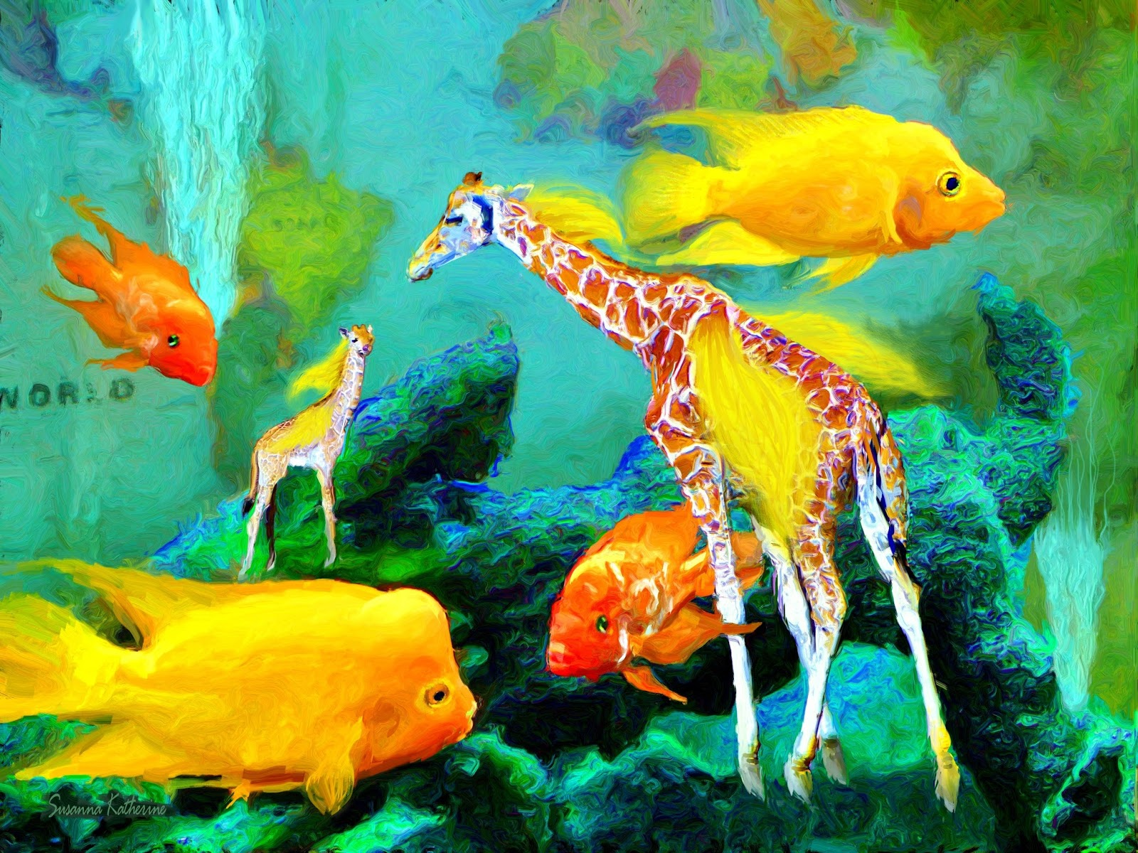 Paintings of artists original unusual art fish and for Fish tank paint