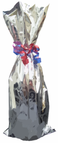 gift wrapped bottle clipart