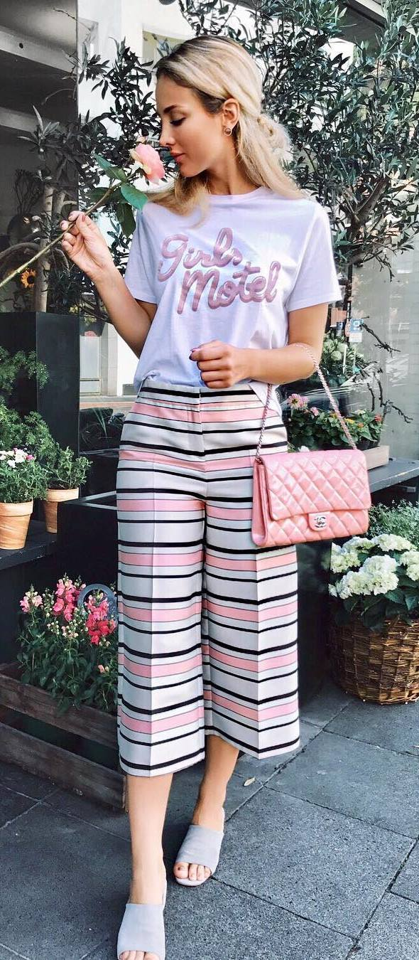 trendy summer outfit: t-shirt + pants + bag