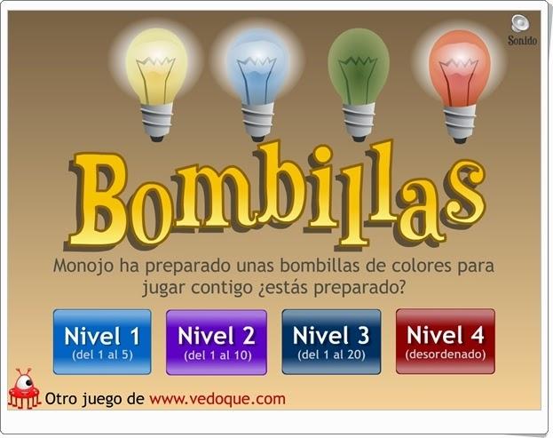 """""""Bombillas"""" (Juego de números hasta el 20)"""
