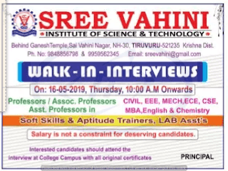 SVIST Assistant Professor Jobs in Sree Vahini Institute of Science and Technology 2019 Recruitment Walk-in Interview, Krishna