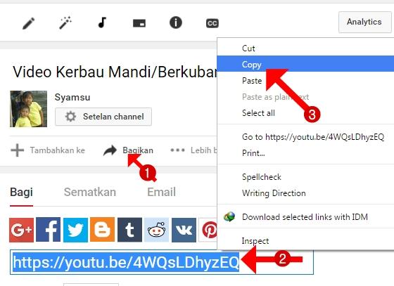 Melihat URL Youtube lewat Tombol Berbagi