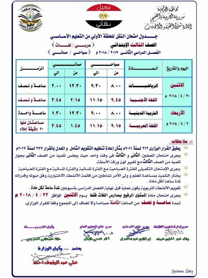 جدول امتحانات الصف الثالث الابتدائي 2018 الترم الثاني محافظة الدقهلية