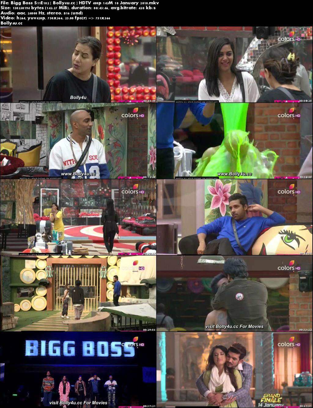 Bigg Boss S11E102 HDTV 480p 140Mb 10 January 2018 Download