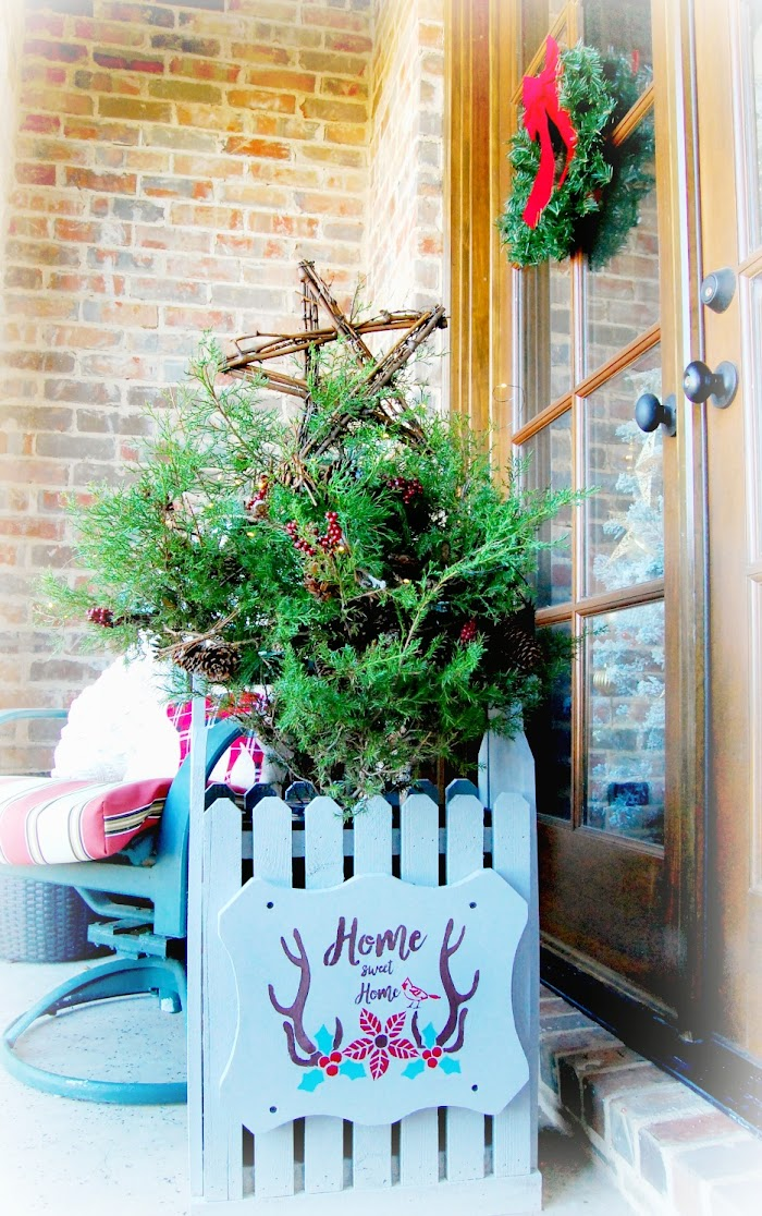 Christmas With Stencils~Rustic Planters