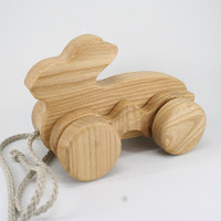 PA23, Wooden Pull along Rabit, Lotes Toys