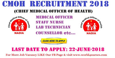 CMOH Medical Officer,Staff Nurse, Lab Technician and Counsellor Recruitment 2018