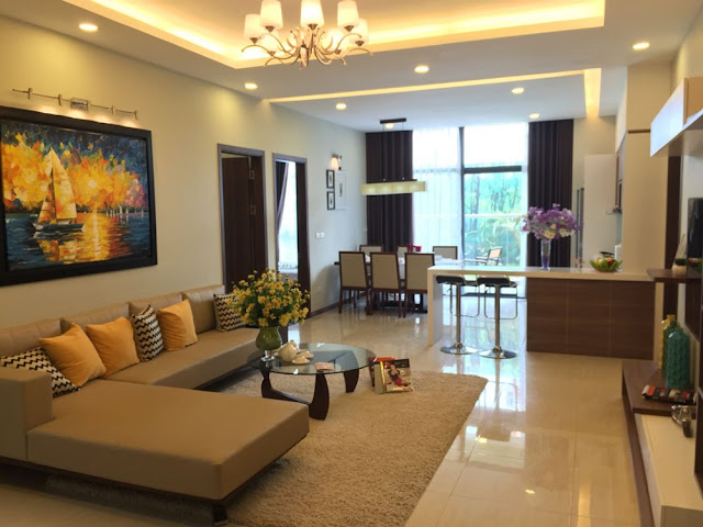 Phòng khách căn hộ Gelexia Riverside