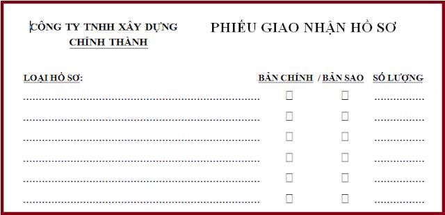 Mẫu phiếu giao nhân hồ sơ công ty