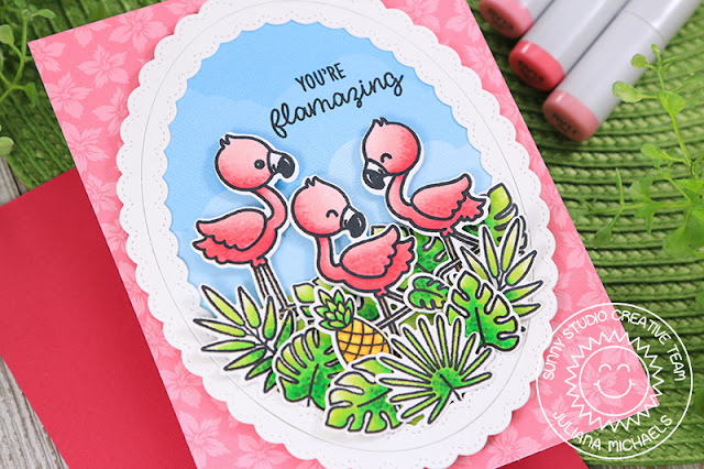 Sunny Studio Stamps: Fabulous Flamingos Fancy Frames Frilly Frames Stitched Ovals Flamingo Punny Cards by Angelica Conrad and Juliana Michaels