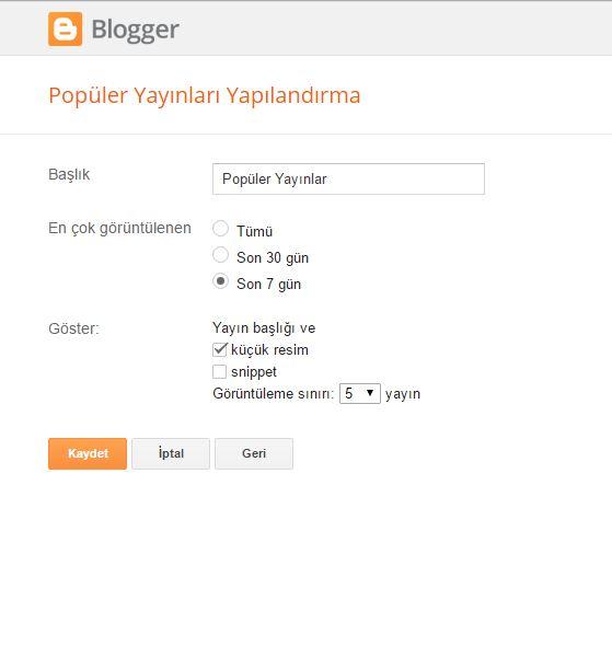 Blogger İçin Yıldız Sıralamalı Popüler Yayınlar Widget'ı