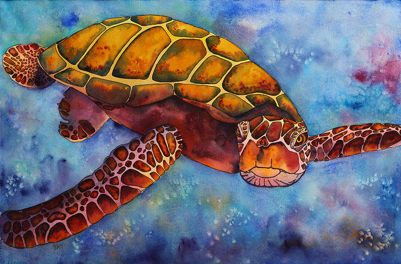 Stacy Creates Sea Turtle Painting Finished Recap Of Steps