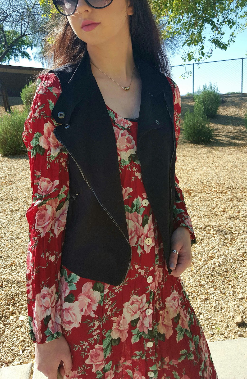 floral maxi dress with suede vest