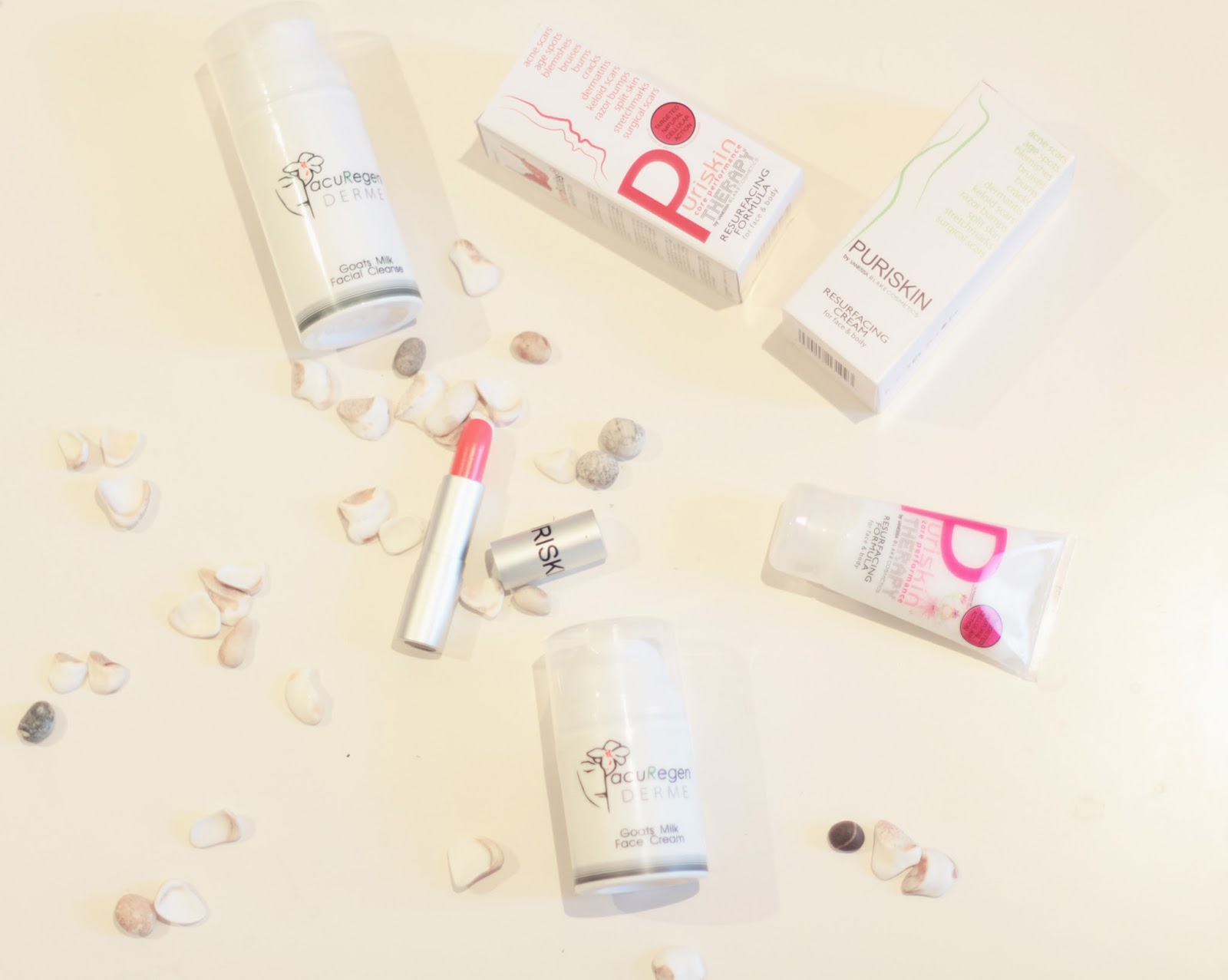 ACUREGEN cosmetics puriskin resurfacing formula white blog flatlay