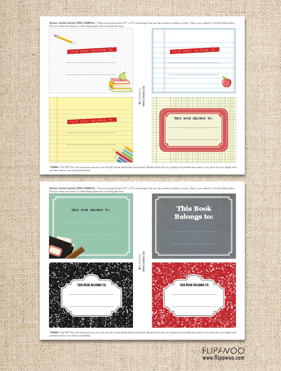 Back To School Book Labels Free Template