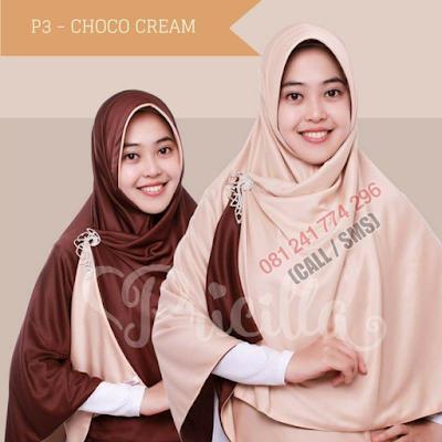 JILBAB Bolak Balik Atau Timbal Balik Original P3 - CHOCO CREAM