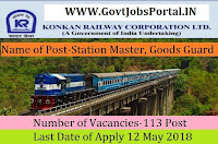 Konkan Railway Corporation Limited Recruitment 2018- 113 Station Master, Goods Guard