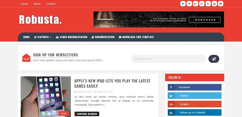 Robusta Free Blogger Template