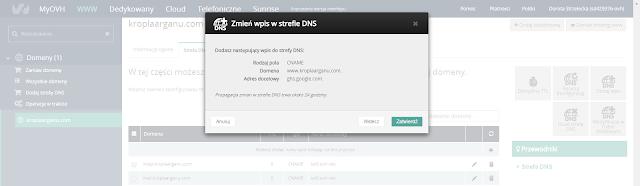 Zmień wpis w strefie DNS
