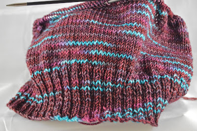 brown and blue striped hat for sale at https://www.etsy.com/shop/JeannieGrayKnits