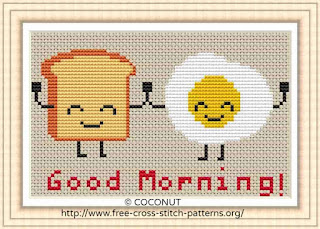 Toast and egg, Free and easy printable cross stitch pattern