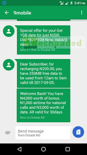 9mobile #200 for 1gb, 10gb for 2000