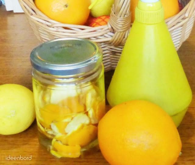 Orangenschalen recyceln. DIY Essig-Reiniger