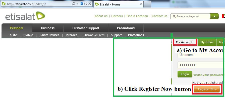 Etisalat Support: Etisalat Online Bill Registration Guide