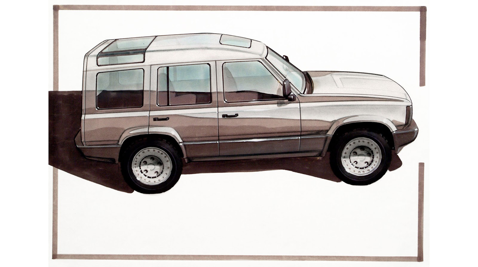 1986 sketch of the first Land Rover Discovery by Mike Sampson