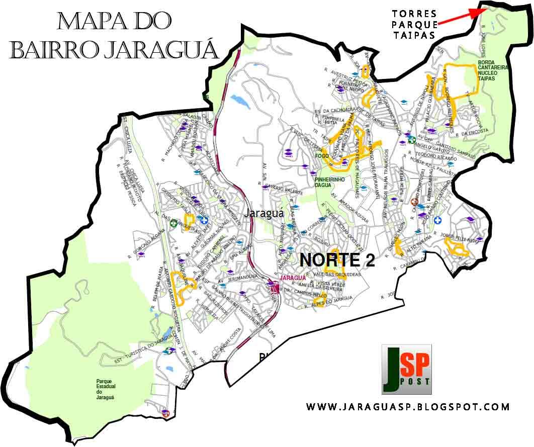 Imagem 4: neste mapa do Jaraguá distribuído pela Prefeitura de São Paulo, o cume do elevado onde estão as Torres Parque Taipas aparece dentro dos limites do distrito (no alto à direita)