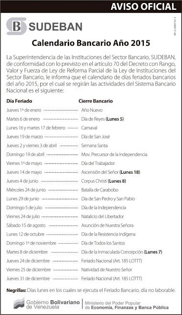 Calendario y Feriados en Venezuela en el año 2015