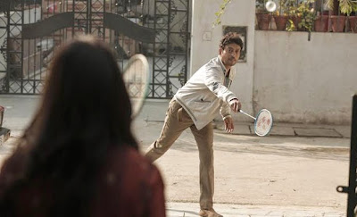 Irrfan Khan as Rana Chaudhary in Piku, playing Badminton with Deepika Padukone in Piku, Directed by Shoojit Sircar