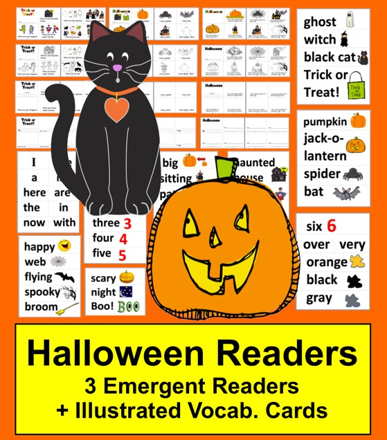 https://www.teacherspayteachers.com/Product/Halloween-Activities-Readers-2-Levels-Word-Wall-Vocab-with-Illustrations-363956