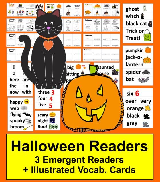 https://www.teacherspayteachers.com/Product/Halloween-Activities-Readers-2-Levels-Word-Wall-Vocab-with-Illustrations-363956