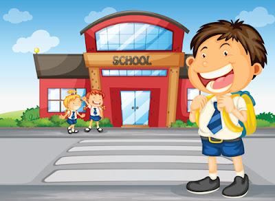 vector de niño que va al colegio