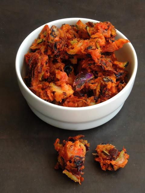 Vegetable Pakoras, Grated Vegetable fritters