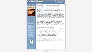 La page d'accueil de l'Ecole de rédaction