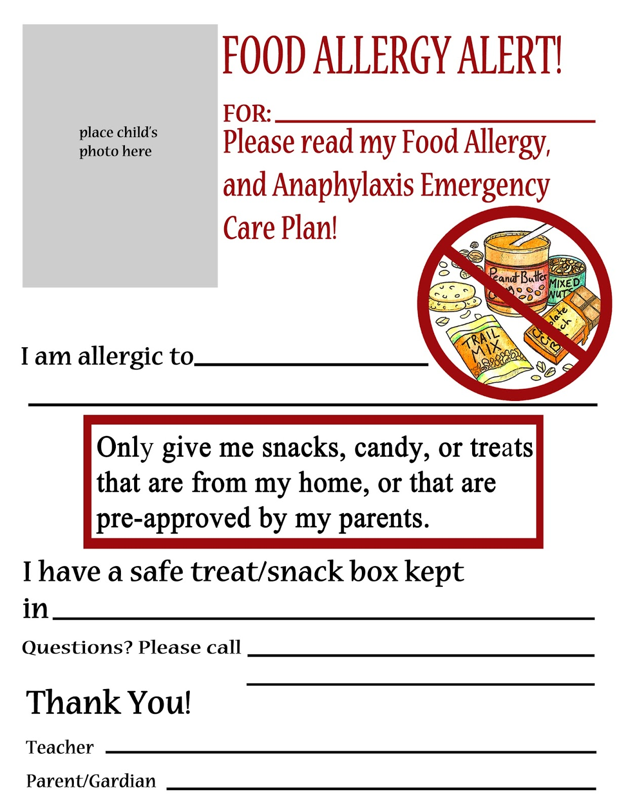 thriving with allergies  substitute teacher handouts for