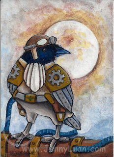 ACEO Steampunk Crow by JennyLuanArt