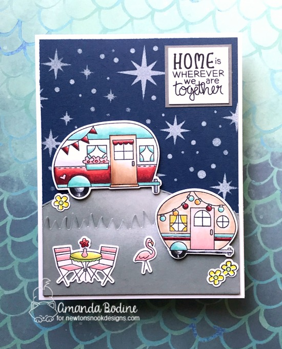 Camper Card by Amanda Bodine | Cozy Campers Stamp Set and Starfield Stencil by Newton's Nook Designs #newtonsnook #handmade