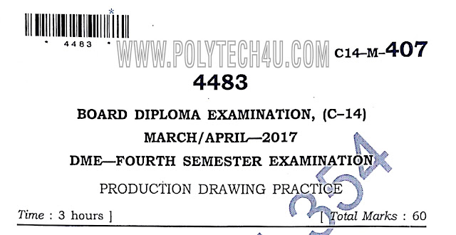 C-14 DME PRODUCTION DRAWING  PREVIOUS QUESTION PAPERS