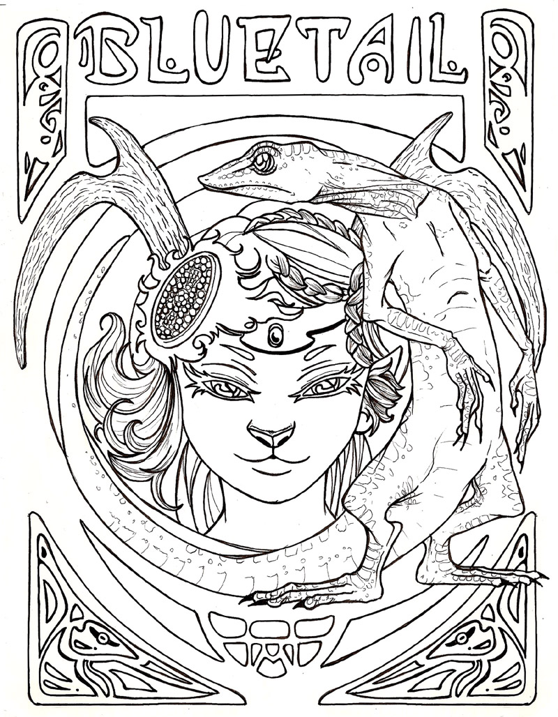 Free coloring pages of art nouveau mucha